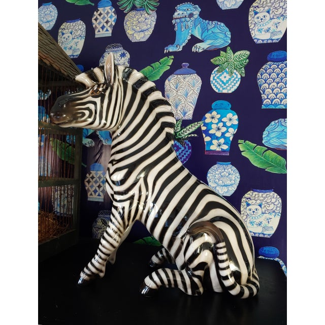 """Figurative 1950s Italian Porcelain 18"""" Zebra With Makers Marks For Sale - Image 3 of 7"""