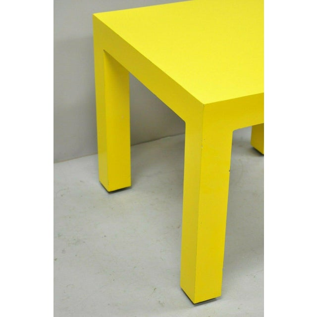 Thayer Coggin Milo Baughman Yellow Parsons Style Laminate Side End Table. Item features yellow formica/laminate frame,...