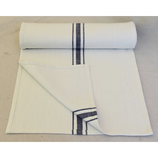 "French French Country Farmhouse White & Blue Striped Table Runner 110"" Long For Sale - Image 3 of 8"