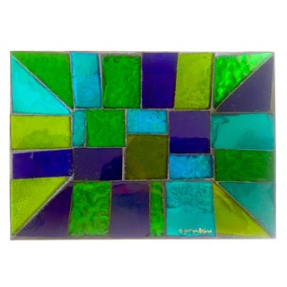 Georges Briard Vintage Mid Century Modern Rare Blue Green Glass Mosaic Tray Dish For Sale
