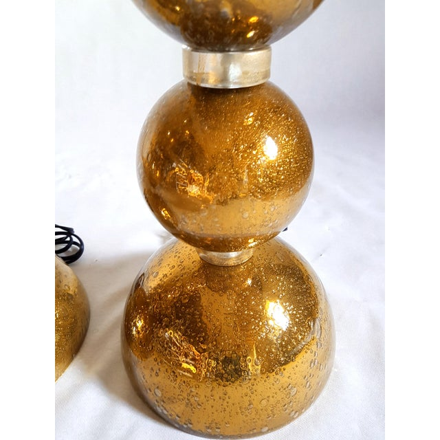 Hollywood Regency 1970s Large Gold Murano Glass Table Lamps - a Pair For Sale - Image 3 of 6