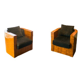 1990s Art Deco Pace Normandy Swivel Chairs - a Pair For Sale