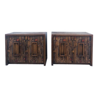 Mid Century Brutalist Style Nightstands Pueblo by Lane Furniture - a Pair For Sale