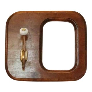 Mid Century Solid Wood and Brass Coat Hook For Sale