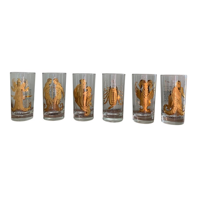 Vintage Zodiac Tall Glasses - Set of 6 For Sale