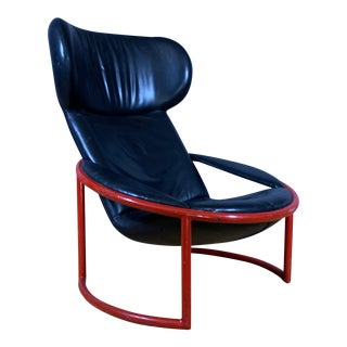 1970s Italian Painted Tube Steel, Leather Lounge Chair For Sale
