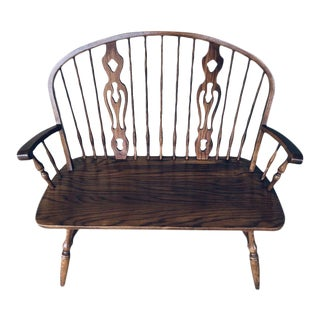 Late 20th Century Dinaire Furniture Colonial Solid Oak Deacons Bench For Sale