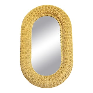1960s Boho Chic Natural Wicker Wall Mirror For Sale