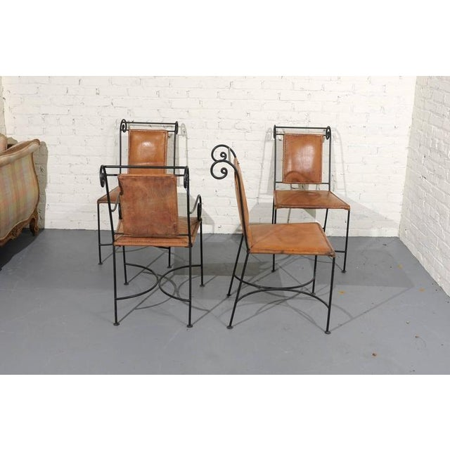 Iron and Leather Dining Chairs - Set of 4 - Image 3 of 5