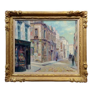 Henri Plisson Impressionist Street Scene Oil Painting C. 1960's For Sale
