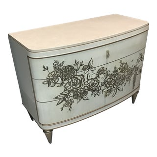 Caracole Floral Motif Marble Top Dresser For Sale