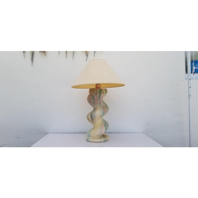 Beautiful and with a presence. Designed by Michael Taylor spiral column plaster table lamp. Well constructed and designed...
