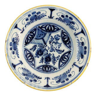 Antique Blue & White Dutch Delft Plate For Sale