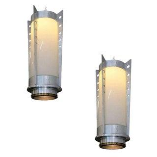 Mid-Century Aluminum Cylinder Pendant Circa 1960, Pair For Sale