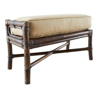 McGuire California Modern Bamboo Rattan Ottoman Footstool For Sale