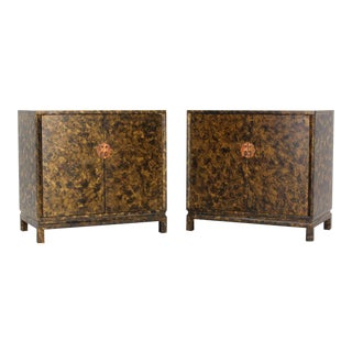 Vintage Mid Century Asian Style Art Decorated Double-Door Bachelor's Chest Dressers- a Pair For Sale