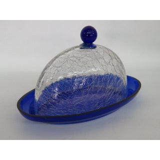 Cobalt Blue Crackle Glass Vintage Butter Dish With Lid Preview