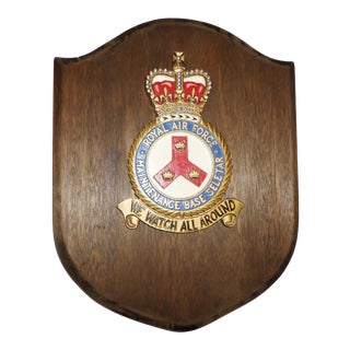 Royal Air Force Plaque With Armorial Crest For Sale