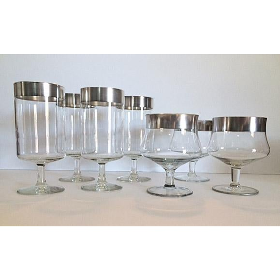 Consists of 4 Iced Tea glasses and 3 cocktail goblets. The silver bands are all in excellent condition with only some...