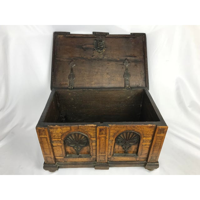 1800s Antique Gothic Style Figural Inlay Front Bible Storage Box For Sale - Image 4 of 13