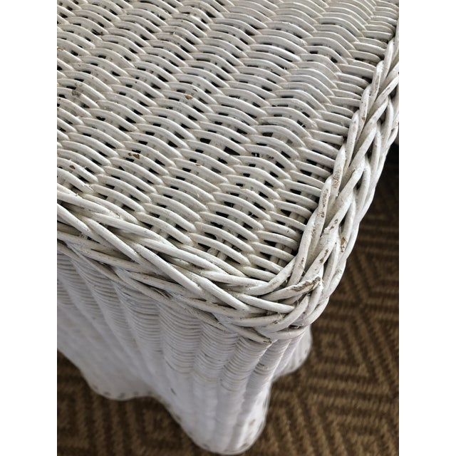 Vintage White Wicker Ghost Trompe L' Oeil Console For Sale - Image 9 of 13