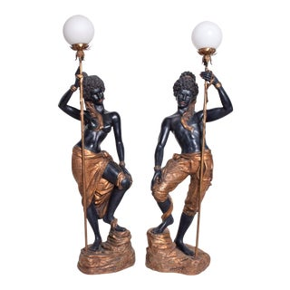 Italian Gold Leaf Blackamoor Torchiere Floor Lamps by ARP - a Pair For Sale