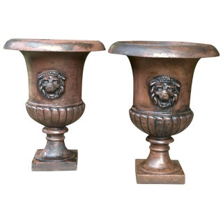1810s Vintage St.Pauls Estate Hedge Maze Entryway Urns With Lions Heads- a Pair For Sale
