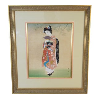 Vintage Mid-Century Geisha Watercolor on Silk Painting For Sale