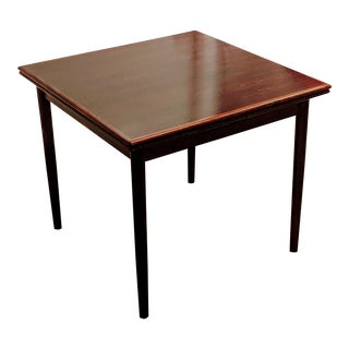 Mid 20th Century Danish Rosewood Sliding Leaf Sqaure Table Dining Table For Sale