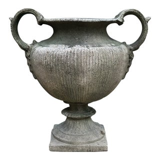 Greek Style Faux Concrete Urn Planter For Sale