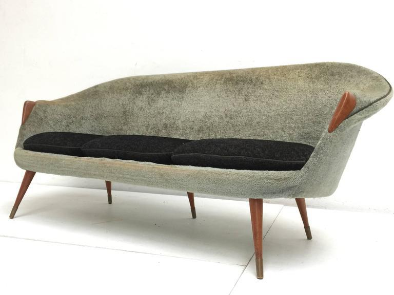 1950s Wool Brass And Teak Danish Sofa And Easy Chairs Attributed To Nanna  Ditzel   Image