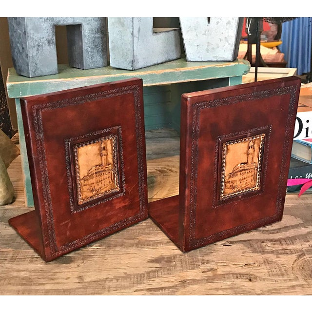 1970s 1970s Italian Brown Leather Bookends - a Pair For Sale - Image 5 of 5
