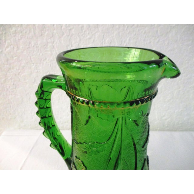 Emerald Antique Northwood Emerald Green Glass Pitcher For Sale - Image 8 of 9