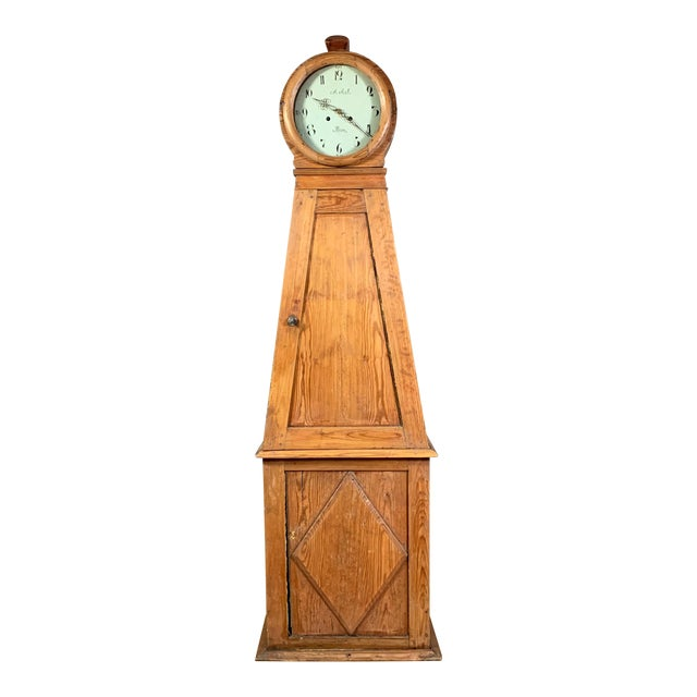 Gustavian 1810 Mora Longcase Pinewood Clock, Sweden For Sale
