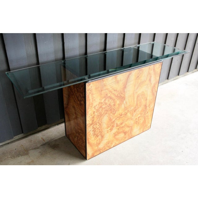 1980s Contemporary Faux Birdseye Maple Burl Console Table For Sale - Image 12 of 13