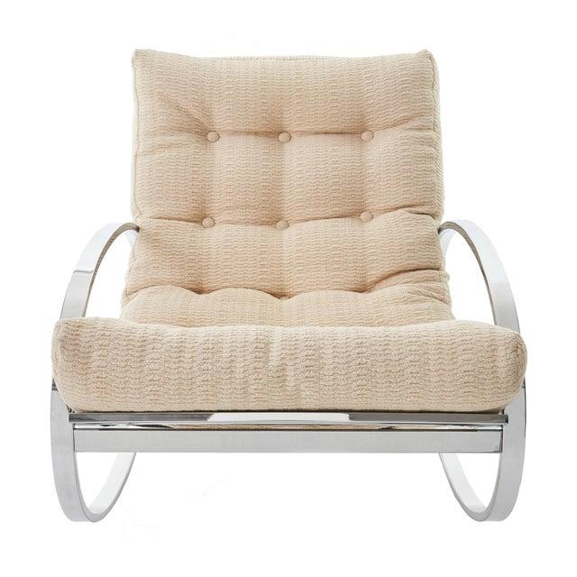 Gorgeous mid century modern chrome 'Ellipse' rocking chair designed by Renato Zevi for Selig. Sleek and glamorous design,...