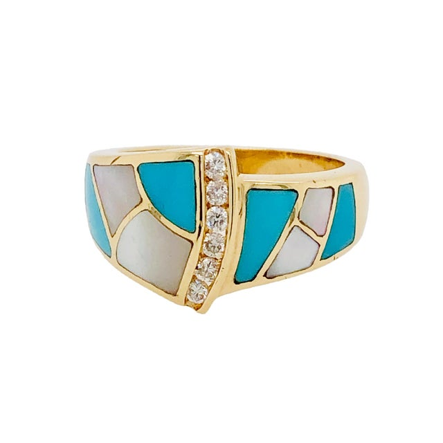 1980s Asch Grossbardt 14k Gold Turquoise Diamond Mop Ring For Sale - Image 5 of 5