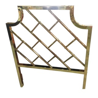 Vintage Chinese Chippendale Brass Twin Size Headboard For Sale