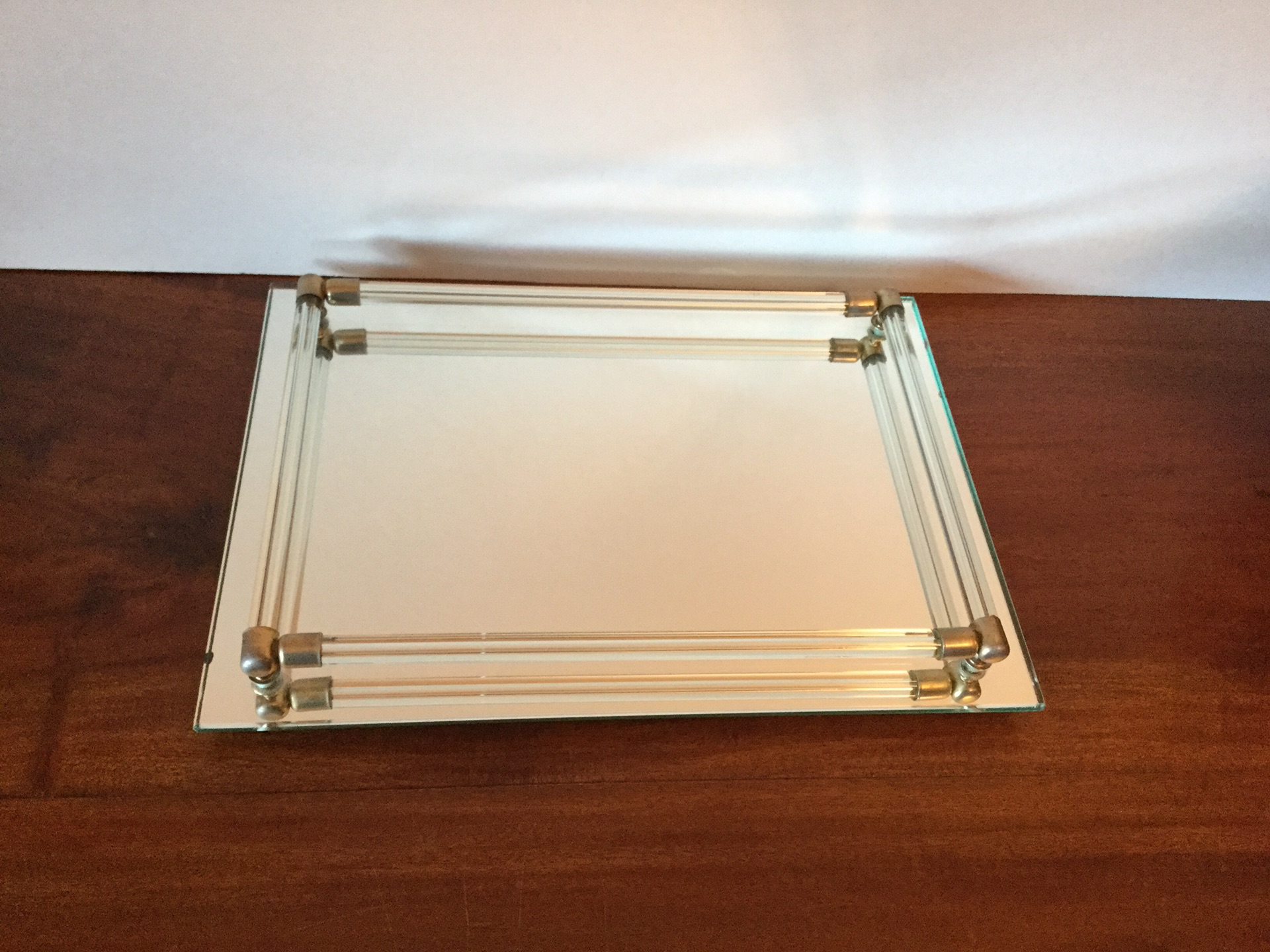 Vintage 1960s Mirrored Glass Tray With Lucite Rods Chairish