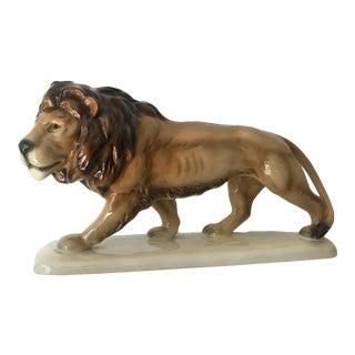 Mid Century German Porcelain Lion Statue Animal Figurine WildLife Africa Art Deco For Sale