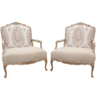 Brunswig & Fils Paisley Upholstered Fauteuils by Drexel Heritage, a Pair For Sale