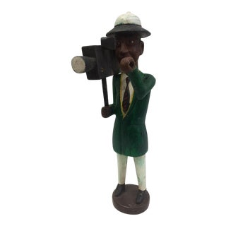 Carved Wood Camera Man Toy