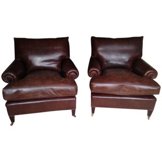George Smith Leather Club Chairs - A Pair
