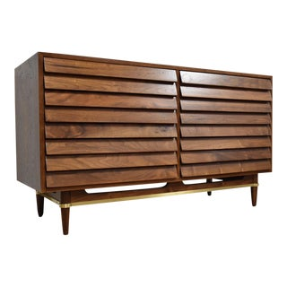 American of Martinsville Louvered Walnut Dresser