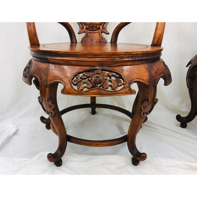 Pair Antique Carved Arm Chairs For Sale - Image 9 of 13
