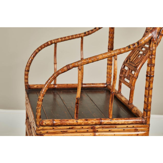 19th C. Chinese Bamboo Horseshoe Armchair For Sale - Image 9 of 10