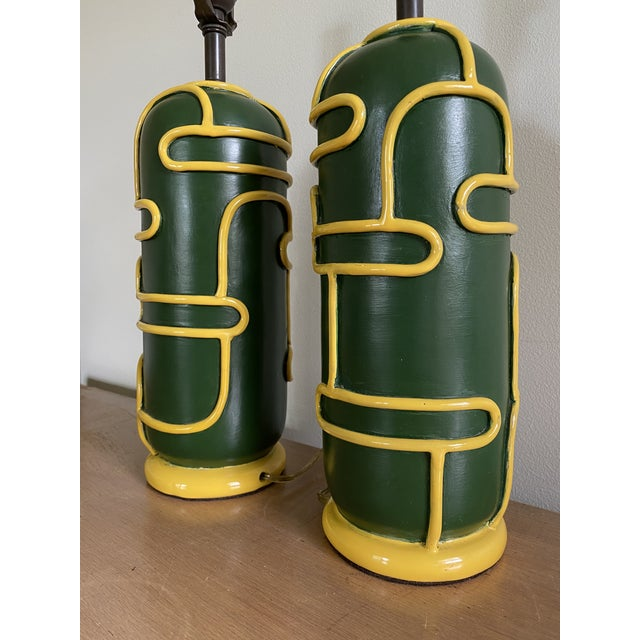 Late 1940s Pottery Ceramic Lamps by Ugo Zaccagnini - a Pair For Sale In New York - Image 6 of 11