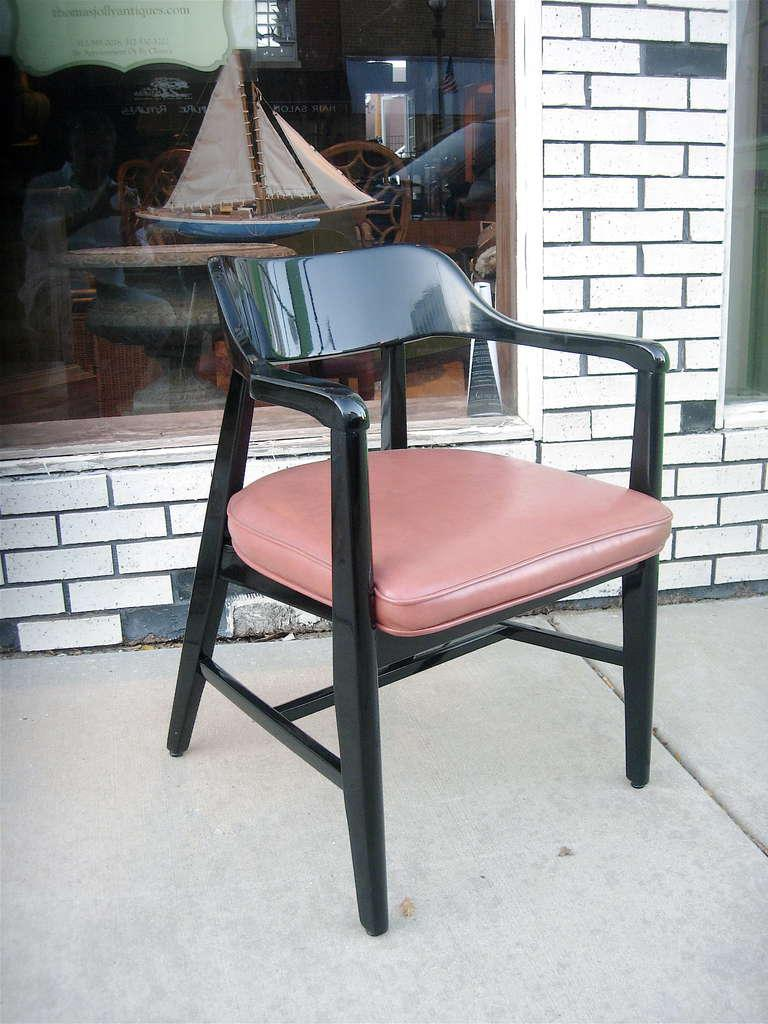 One Pair Mid Century Black Lacquer Arm Chairs   Image 2 Of 3