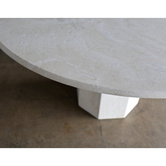Travertine centre table. Made in the 1980s.