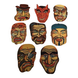 Antique Japanese Halloween Masks - Set of 8